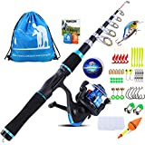 YONGZHI Kids Fishing Pole with Spinning Reels,Telescopic Fishing Rod,Shoulder Pocket,Manual,Full Kits Tackle Box for Travel Freshwater Bass Trout Fishing-B