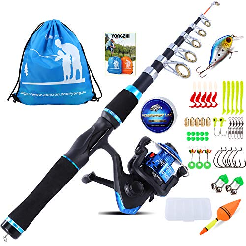 YONGZHI Kids Fishing Pole with Spinning Reels,Telescopic Fishing Rod,Shoulder Pocket,Manual,Full...