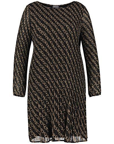 Samoon Damen Plisséekleid mit Ketten-Print leger, leicht ausgestellt Black Gemustert 48