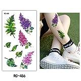adgkitb 5pcs farbige Blume temporäre Tätowierung Pfingstrose Arm Hand grünes Blatt RC-486 10.5x6cm