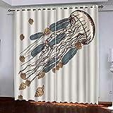 Bbaodan 3D Cortina Opaca con Ojales, Térmicas Aislantes Intimidad Habitación Decoracion Dormitorio Medusa cómica Simple 2PanneauL117cmxH138cm
