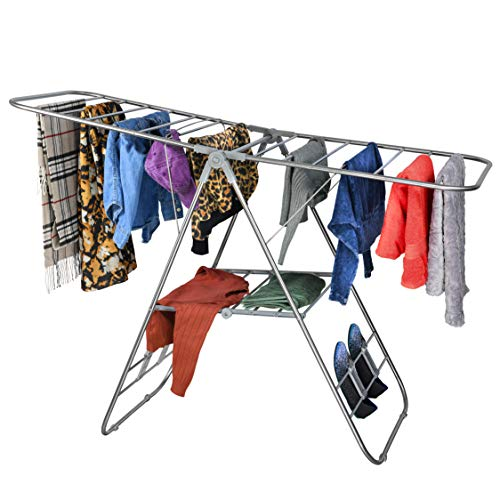 Bartnelli Laundry Drying Rack for Clothes - Heavy Duty Stainless-Steel Adjustable Gullwing Drying Rack Stand - Foldable and Space Saving, Indoor-Outdoor, Lightweight, with Hooks to Dry Shoes
