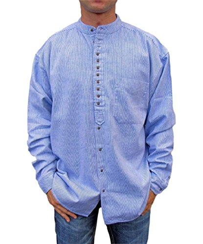 NADUR Stehkragenhemd - Irisches Stehkragenhemd - SW 1370 Blue White (S, Blue)
