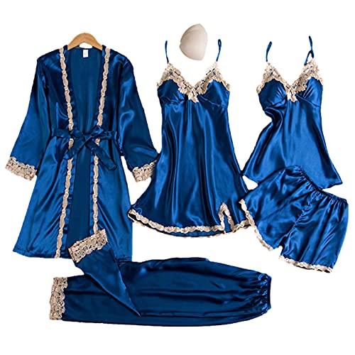HANDAN Pijamas de satén de Seda para Mujer Set Ropa de Dormir Soft Loungewear Sexy lencería con túnica Premium