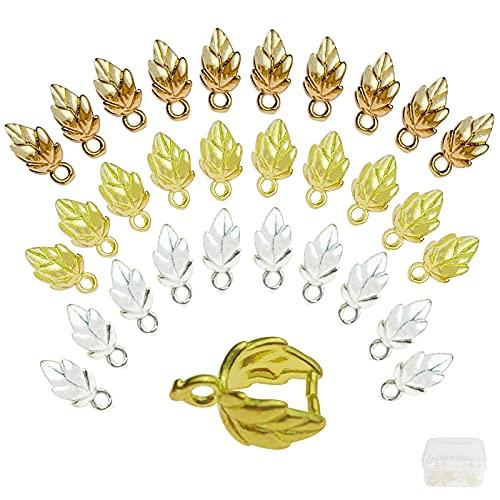 GZhaimai - 30 lazos de latón con forma de hoja, cierre de cadena para manualidades, collares y joyas, con caja, dorado/plateado/latón