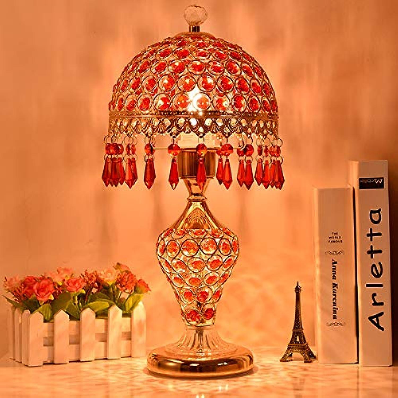 Rishx Luxurise Kristall Schreibtisch Licht Kreative Desktop Schlafzimmer Nachttischlampe Moderne E27 LED Wohnzimmer Esszimmer Restaurant Dekoration Tischlampe (Farbe   rot)