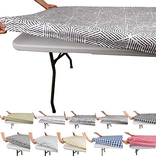 Tablecloth for Folding Table -Fitted Rectangular Table Cloth for 8 Foot – Size 32 x 96 inch - (75 x 240 cm), Plastic Vinyl Flannel Backed with Elastic Rim- for Christmas|Parties, Waterproof
