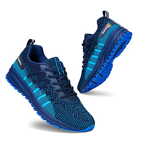 Homme Femme Chaussures de Sport Running Baskets Outdoor Sneakers Air Chaussures d' Course Fitness Gym,Respirante,Mode,Bleu 6003,43 EU