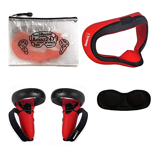 Amaz247 Silicone Anti-Leakage Face Cushion Mask, Protective Lens Cover, Controller Grip Cover with Velcro Straps for Oculus Quest VR Headset (Red), NOT FIT Oculus Quest 2