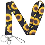 Yiflin Black Sunflower Lanyard for Keys, Keychain, Wallet, Id Holder, Cell Phone, Badge Holder, for Men and Women, Teacher, Teens