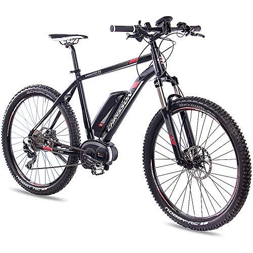 CHRISSON 27,5 Zoll E-Bike Mountainbike Bosch - E-Mounter 2.0 schwarz 48cm - Elektrofahrrad, Pedelec für Damen und Herren mit Bosch Motor Performance Line 250W, 63Nm - Intuvia Computer und 4 Fahrmodi