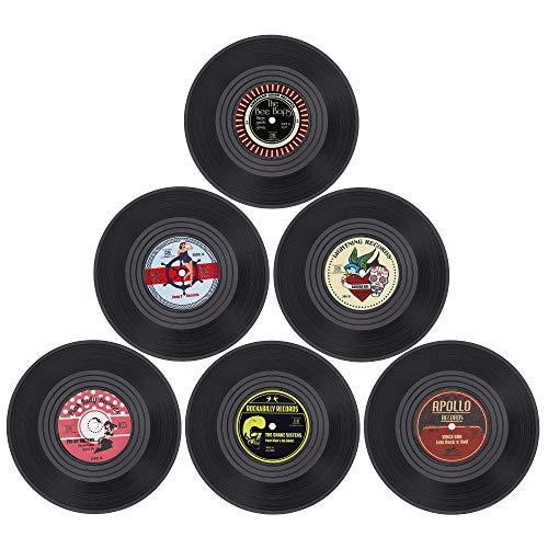 MengH-SHOP Posavasos de Vinilo Redondo Coasters Retro Grabar Originales Cup Mat para Bebidas frías Calientes Café Vasos Tazas 6 Piezas
