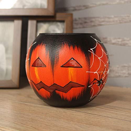 FlameCharm Pumpkin Candleholder for Halloween Decorative 100% Handmade Candle Holder for Home Decor - Tea Light Round Glass Candlestick Holders - 4,7' x 4,7' x 3,9' - Made in Europe