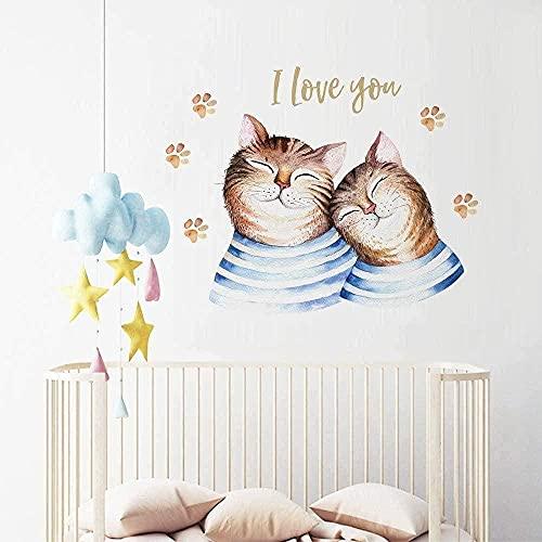 Dibujado a mano pegatinas de pared Lindo gato parejas de dibujos animados gatito huella de niños habitación de niño sala de estar decoración