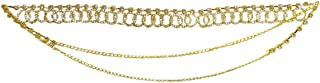 DollsofIndia White Stone Studded Metal Kamarband for Women - Waist Band - 18 inches, Chain - 22 inches (HP82)