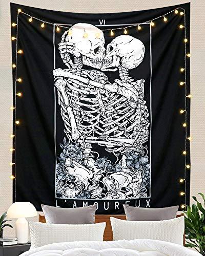 Dremisland Schädel Wandteppich Küssen Liebhaber Tapisserie Wandbehang Schwarz Tarot Wandteppiche Skelettdecke Tuch Wandtuch Dekoration für Schlafzimmer Wohnzimmer (Schädel, L/148x200cm)