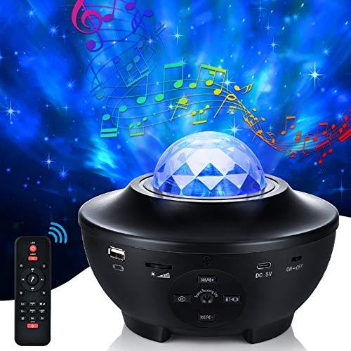 Proyector Estrellas Galaxia, 21 Modos Lámpara Proyector Giratorio de Luz Estelar con Controlar Remoto Altavoz Bluetooth y Temporizador para Dormitorio de Niños, Fiestas, Regalos y Decoración del Hogar