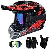 ZOLOP Rojo negro Motocross Moto Casco,bicicleta sucia Niños Quad Bike ATV Karting Carreras Cuesta Abajo Casco,Guantes Increíbles/Gafas/Mascarillas (L, F1)