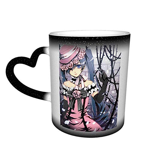 IUBBKI Black Butler Ciel Phantomhive Ceramica sensibile al calore Cambia colore Cielo stellato Novità Tazza da viaggio Unica Galaxy Tazza da caffè Tazze da tè Tazze 12OZ