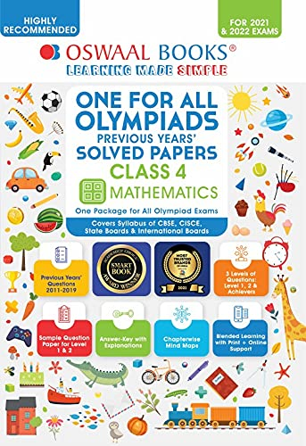 Oswaal Olympiad Previous 10 Years' Solved Papers, Class-4 Mathematics Book (For 2021 Exam)