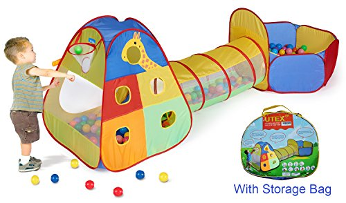UTEX 3 in 1 Pop up Kids Play Tent with Tunnel and Ball Pit for Boys,...