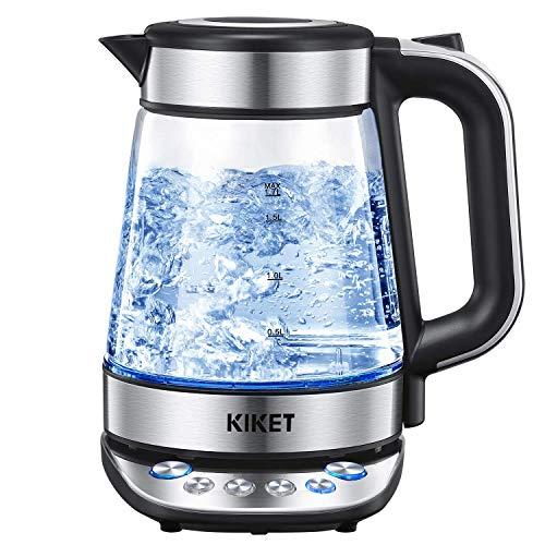 Glas Wasserkocher mit Temperatureinstellung und Warmhaltefunktion (2 Stunden) | Teekocher | BPA FREI | Blau LED Beleuchtung | Herausnehmbarer Kalkfilter | 2200W | 1,7 Liter