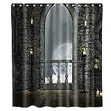 N\A Stone Castle Moon Cortina de Ducha Tela Tela Niños Baño Decoración Set con Ganchos Impermeable Lavable