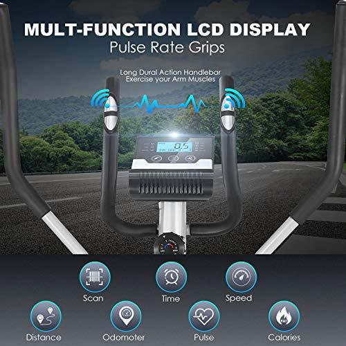 ANCHEER Elliptische Maschine, Ellipsentrainer für den Heimgebrauch mit Pulsfrequenz-Griffen und LCD-Monitor, magnetisch, glatt, leise angetrieben, maximale Kapazität Gewicht 150kg - 7