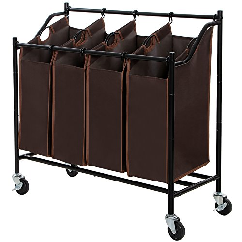 SONGMICS Laundry Sorter Cart, Four Bags, Brown