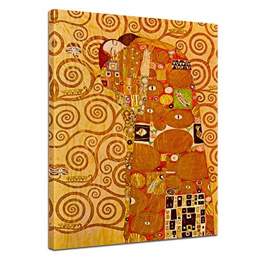 Wandbild Gustav Klimt Die Erfüllung - 40x50cm hochkant - Alte Meister Berühmte Gemälde Leinwandbild Kunstdruck Bild auf Leinwand