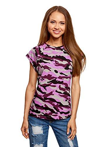 oodji Ultra Damen Bedrucktes Baumwoll-T-Shirt, Violett, DE 34 / EU 36 / XS