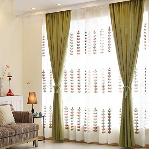 Gordijnen met Love eenkleurig imitatie linnen halfschaduw volle schaduw vloergordijnen slaapkamer verduistering geklapt oogje black-out woonkamer met twee bijpassende Tie Backs 2 platen