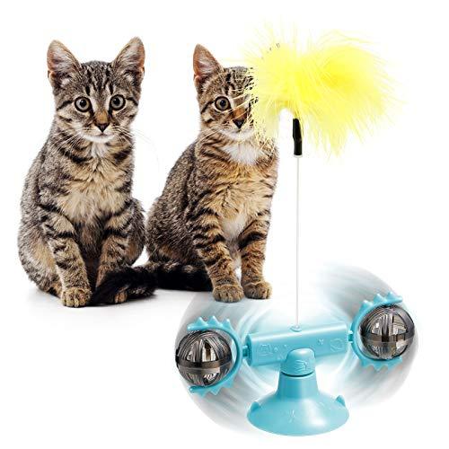 Vintoney Interaktives Katzenspielzeug Feder, Katzen Spielzeug Ball Feder austauschbares Katzen Federspielzeug necken Katzenspielzeug Windmühle Katzenspielzeug Mit Katzenminze