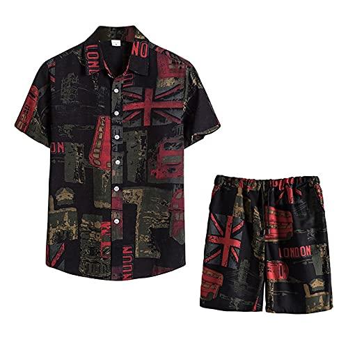 Xmiral Camicie Pantaloncini Pantaloni Set Uomo Estate 2 Pezzi Beach Stampato Manica Corta (Camicie + Pantaloni) (M,3verde)