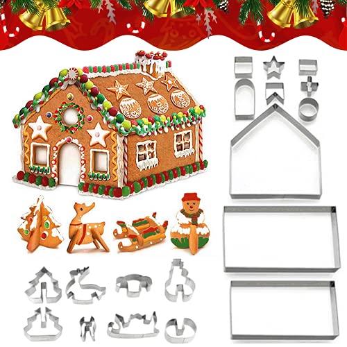 TOMEEK 18 Pezzi Formine Biscotti - 3D Biscotti Natalizi Stampi in Acciaio Inox - Stampi per Biscotti Professionali ,per Bambini DIY Natalizi Decorazioni Stampini per Dolci , Cookie,Fondant