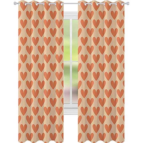 Cortinas opacas con ojales, diseño de corazón con forma de corazón de color naranja y dulce, diseño de azulejos temáticos, 52 x 72 de ancho para habitación de niños, color naranja y melocotón