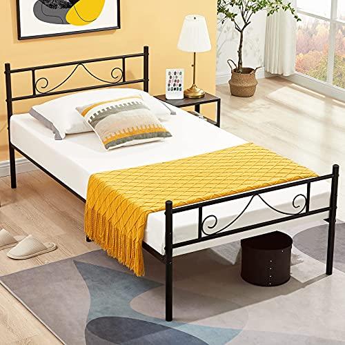 Aingoo Bettgestell mit Lattenrost Gästebett Einzelbett Metallbett Bettrahmen Jugendbett Kinderbett für Kinderzimmer Gästezimmer Schlafzimmer Bett In Schwarz (90 x 190 cm)
