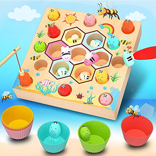 Uping Kinder Holzspielzeug Angelspiel 2 In 1Angelspiel Magnetspielzeug Lernspielzeug Magnettafel Kinderspielzeug Montessori Angelspiel Holz Mädchen Jungen Geschenk, Autorisiertes Patent