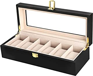 Wooden Watch Box, DELFINO 6 Slot Wooden Watch Case Display Storage Boxes with Glass Top and Removal Storage Pillows, Gift ...