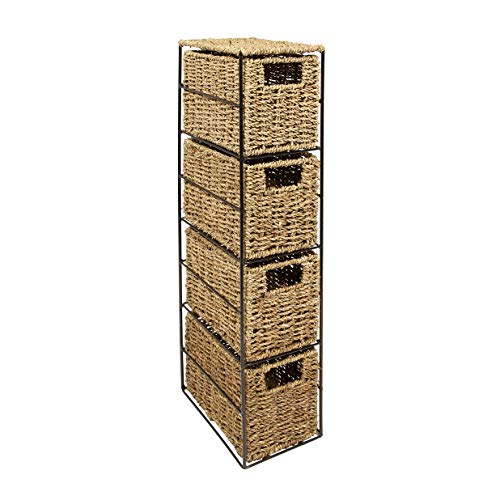 woodluv Seagrass 4 Drawer Tower Storage Unit-Bedroom/Bathroom/Home/Office(E01-110)