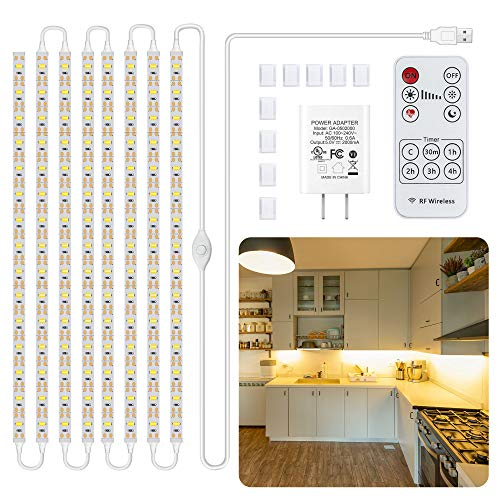 Led Under Cabinet Lighting Kit, 8 PCS Warm White Flexible Led Strip Lights with RF Remote and Power Adapter, for Kitchen Cabinet Shelf Desk Counter Corner, 8 Strips with Connecting Wires, 2700K, 13ft