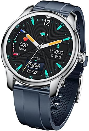 QHG Business Smart Watch Completo Redondo Táctil Color Pantalla de Color Fitness Tracker Presión Arterial Monitor de Ritmo cardíaco Monitor de Salud Fit Reloj (Color : Blue)