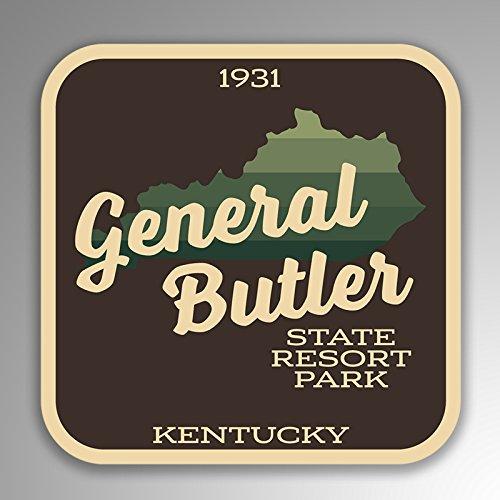 JMM Industries General Butler State Resort Park Kentucky calcomanía de vinilo retro de aspecto vintage, paquete de 2, 4 pulgadas por 4 pulgadas, laminado protector UV de alta calidad SPS039