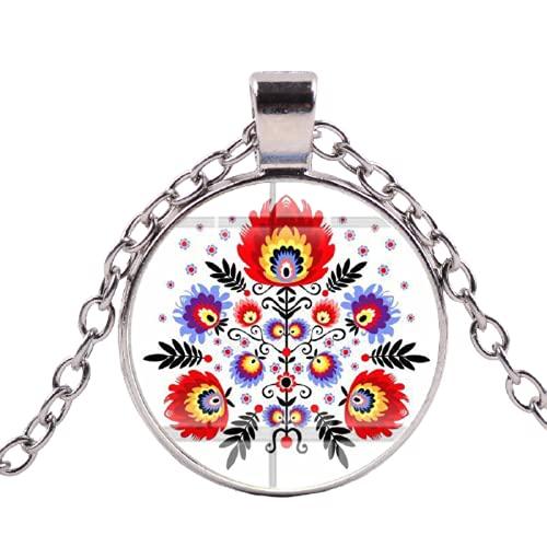Nueva llegada polaco arte popular patrón collar Bohemia estilo tiempo gema redondo collares colgantes gargantilla joyería hecha a mano