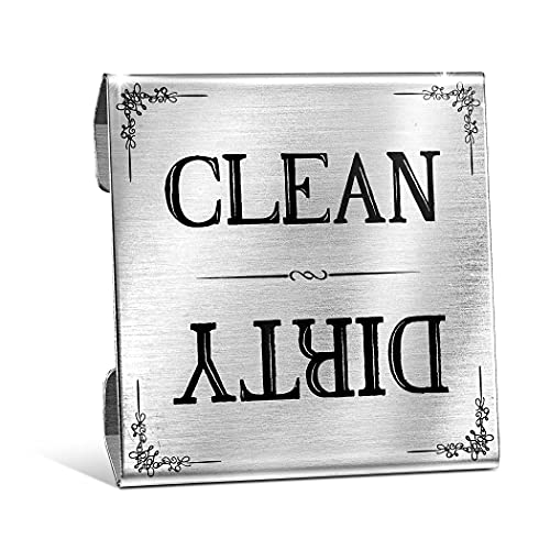 Premium Clean Dirty Dishwasher Sign Stainless Steel Interior Indicator by Sperric Dishwasher Flip Over Sign with Easy to Read Indicators - Non-Scratch & Rustproof Dishwasher Sign