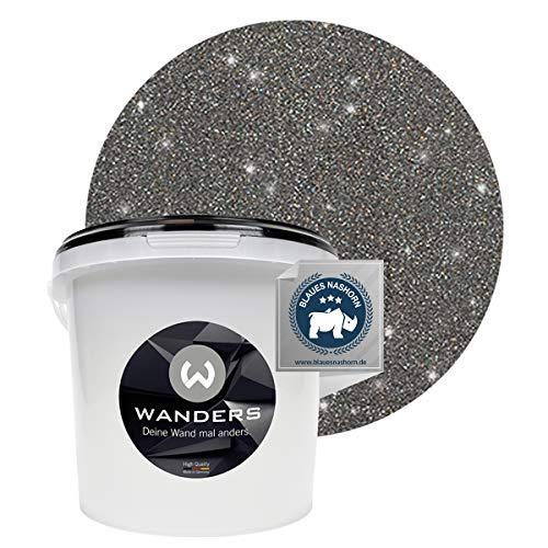 Wanders24® Glimmer-Optik (3 Liter, Silber-Schwarz) Glitzer Wandfarbe - Wandfarbe Glitzer - abwaschbare Wandfarbe - Glitzerfarbe - Made in Germany