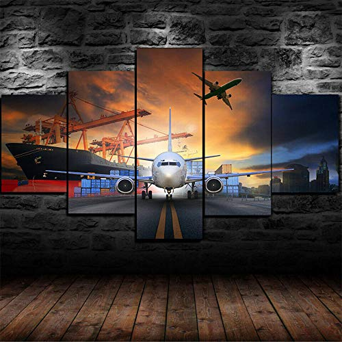 WJWORLD 5 stuks afdrukken op canvas moderne foto's woonkamer slaapkamer schilderij canvas modern modulaire druk Wall Art logistiek transport goederen 20x35cmx2,20x45cmx2,20x55cmx1 Frame