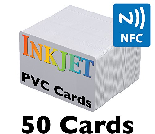 Inkjet PVC Cards with NFC Chip (NTAG215) - Brainstorm ID's Enhanced Ink Receptive Coating, Waterproof & Double Sided Printing, Epson & Canon Inkjet Printers (50 Inkjet Printable ID Cards)