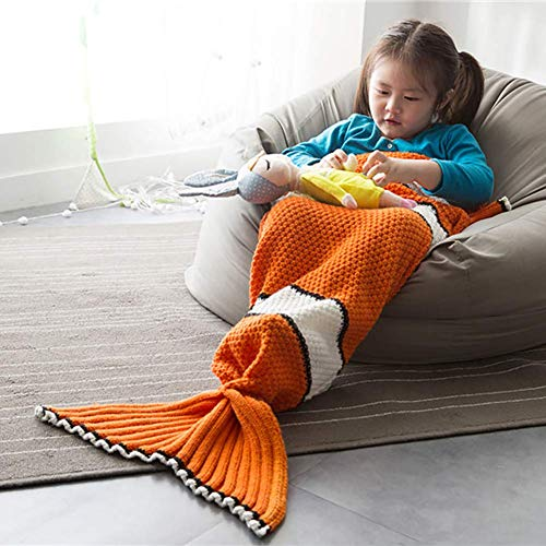 Mermaid Tail Blanket Super Soft and Warm Quilt,Hand Knitted Mermaid Tail Blanket,Warm Sofa Quilt Adult and Kids Living Room Blanket for All Seasons Watching Reading Camping Car Sofa Bed