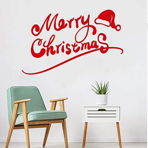99native DIY Weihnachten Frohe Fensterdeko Aufkleber,Abnehmbare Wasserdicht Wandaufkleber,Wandtattoo Fensterbilder Innenraum Dekoration Für Party Home Kinderzimmer (58 x 35 cm) (Rot)